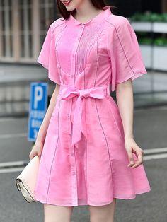 Hot+Pink+Pleated+Tie-Waist+A-Line+Dress+76.99