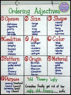 Ordering Adjectives... Who knew?   Crafting-Connections.blogspot.com   Bloglovin