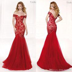 Wholesale-2015-Lace-Prom-Dresses-Tarik-Ediz-Red-Off-shoulder-Mermaid-Tulle-Sweep-train-Applique-Vintage.jpg (950×950)