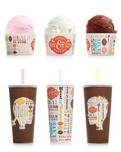 "Honey & Mackie's Milkshakes & Ice Cream Cups. (No es un ""Brainz"" pero fara el fet) Food Packaging Design, Packaging Design Inspiration, Brand Packaging, Gelato, Milkshake Bar, Sweet Cafe, Ice Cream Packaging, Ice Cream Brands, Frozen Yogurt Shop"