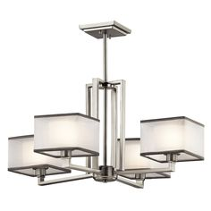 Square shapes are often boxed into modern decorating schemes – but not with this 4 light chandelier from the Kailey collection. We've given the cubist feel a transitional twist, with feminine organza shades that diffuse the light as well as soften the overall tone of the fixture.
