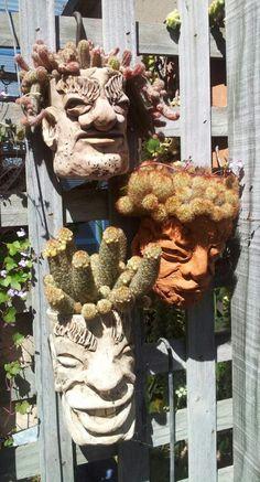 Head pots. Face Planters, Flower Planters, Ceramic Planters, Flower Pots, Garden Terrarium, Garden Planters, Indoor Plant Pots, Garden Deco, Exotic Plants