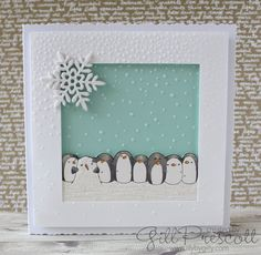 A penguin themed Christmas card, created for 52 Christmas Card Throwdown September Themes, Hello Everyone, Penguins, Christmas Cards, Lily, Challenges, Invitations, Create, Party
