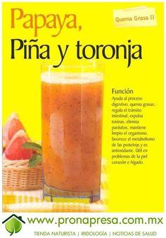 Jugo Natural de Papaya, Piña y Toronja; Quema grasa II. #ConsejosDeSalud #QuemadorDeGrasa #TipsSaludables