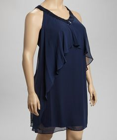 Take a look at this Navy Sequin Ruffle Dress - Plus by SL Fashions on #zulily today!