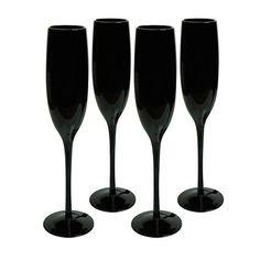 Midnight Black Flutes, Set of Four