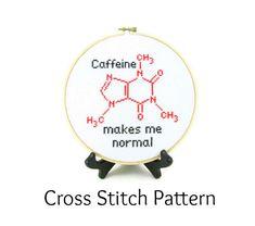 Caffeine Molecule Cross Stitch Pattern  by ActsofCraftiness, $5.00