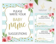 Get the party started with fun 'Baby name suggestions' game! Every baby shower has to have games and this one is the perfect ice breaker! #printable #babyshower #babyshowergames #babyshoweractivity #babyshowerstationery #SHdesigns