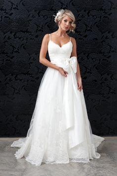 Princess Ballgown , Lace, Silk Wedding Gown with Dupion Silk, Tulle, Lace - Halo Bridal Sydney Wedding Dress