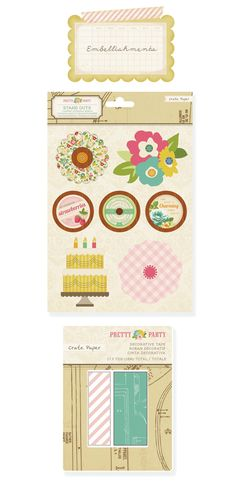 Crate Paper Pretty Party standouts and decorative tape