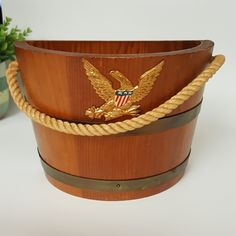 American Eagle Barrel Bucket wall decor with american flag and rope handle, Barrel Bucket planter American Eagle barware decor by Brookesrepurpose on Etsy