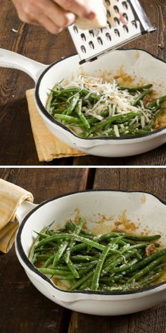 Dress up fresh green beans with a little salt, pepper, olive oil and generous sprinkle of Parmigiano Reggiano cheese. So easy, so delicious. // Green Beans with Parm