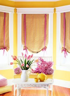 bedroom window treatments.  I don't like the colors, but I like the idea.  My in-laws need to see this before they do their room