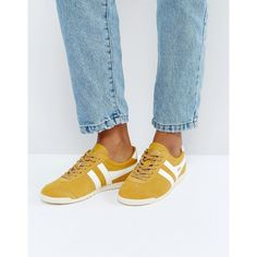 Gola Bullet Suede Sneakers In Mustard (€79) ❤ liked on Polyvore featuring shoes, sneakers, yellow, neon sneakers, sports trainer, sport sneakers, retro shoes and lace up sneakers