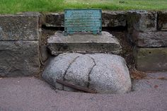 Witch Stone, Forres, Scotland ~ Local lore says that this stone is actually the broken remains of a witch executed here centuries ago, for foretelling the death of King Duncan. She was rolled down a steep hill (you can't see it, but it's behind the stone and back a bit) in a barrel full of nails and this is where her body landed. There were 2 more witches also executed this way, but I am not sure where their stones/bodies are today.