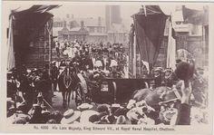 Rare photographic Postcard King Edward VII at Royal Naval Hospital Chatham 1910