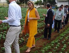 29 May 2017 - Queen Maxima visits Vietnam for the UN (day 1) - trousers and jacket by Zara, sandals by Salvatore Ferragamo