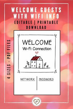 Create your own WiFi sign with this editable template. Perfect for guest room, living room or wherever guests hang out. PDF files available in 4 standard sizes. Easy to edit on free Acrobat Reader platform. Printable Designs, Printable Wall Art, Printables, Sign Printing, Printing Services, Wifi Password Printable, Guest Room Sign, Desk Calendars, Digital Wall