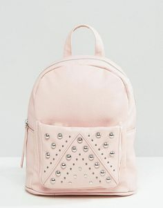 Mini Studded Backpack by Asos. Backpack by ASOS Collection, Faux leather outer, Single grab handle, Twin shoulder straps, Zip closure, Silver-tone s...