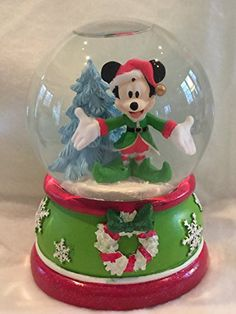 Disney Mickey Mouse with Christmas Tree Musical Waterglobe Snow Globe