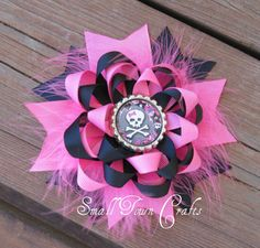 Skull Pink and Black Loopy Stacked Boutique by smalltowncraftsbtq, $9.00