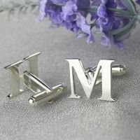 Silver Initials Cufflinks,Gift idea,Father's Day Gift