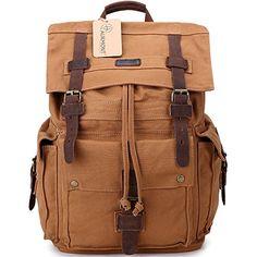 Vintage Canvas Rucksack Leather Hiking Travel Backpack School Bag 1219 Eathy Yellow ** ** AMAZON BEST BUY **