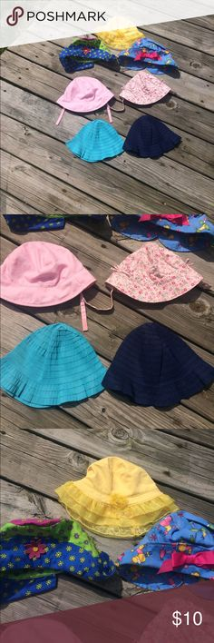Infant/Toddler Girls Summer Hats Really adorable! Nothing wrong with them other than the fact that they haven't gotten much wear 🤷🏼♀️🤗 the yellow still has the tags on it. The navy, turquoise blue, and two pink pairs are unbranded,  the yellow is koala kids and the other two with prints are Chicken Noodle brand. Comes from a smoke free home. EUC See Discription Accessories Hats