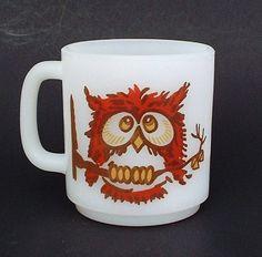 Vintage Glasbake Milk Glass Owl Mug by tatteredlace on Etsy, $12.00