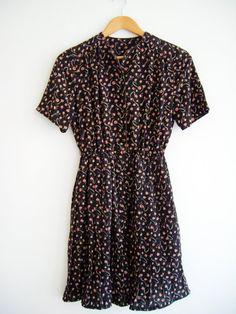 Black Vintage Dress. Cocktail Dress. Office Dress. Birthday dress. Japanese vintage dress. on Etsy, 39,00€
