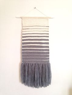 "Woven wall hanging, weaving wall hanging. Grey, white. Ombre pattern of white and grey. 23"" long. Wall art."