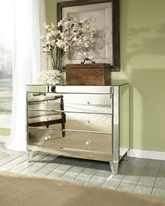 Harlow Mirrored Chest as a nightstand or in the entry