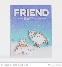 Stamps: Polar Bear Pals Die-namics: Polar Bear Pals, Stitched Scallop Basic Edges 2, Friend  Melania Deasy #mftstamps