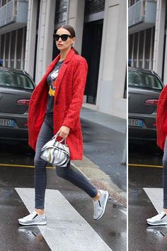 Irina Shayk wearing Celine Large Audrey Sc 1755 Black Sunglasses, Zac Zac Posen Giselle Wool-Blend Coat, Frame Denim Le Skinny De Jeanne Mid-Rise Charcoal Jeans, Tod's Slip on Sneakers in Leather and Tod's Wave Bag Mini Modele