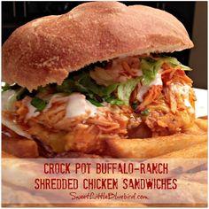 CROCK POT BUFFALO-RANCH SHREDDED CHICKEN SANDWICHES |  SweetLittleBluebird.com