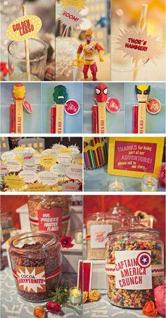 superhero party food I like the cereal idea on the bottom For testing days. Superhero Party Food, Wedding Superhero, Dream Wedding, Our Wedding, Geek Wedding, Wedding Table, Perfect Wedding, Comic Book Wedding, Wedding Ideias