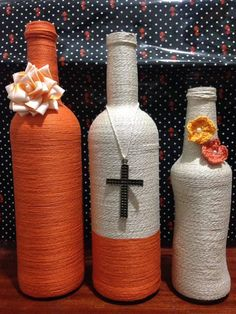 Trio  garrafa decoradas feita com barbante