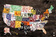 License Plate Map of The United States - Warm Colors / Black Edition Fine Art Print to a buyer in Arizona!
