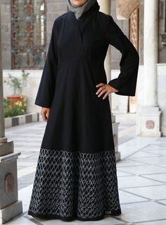 Classy High Collar Embroidered Dress from SHUKR Islamic Clothing. Modern Hijab Fashion, Islamic Fashion, Abaya Fashion, Muslim Fashion, Modest Fashion, Fashion Outfits, Modest Maxi Dress, Abaya Designs, Hijab Style