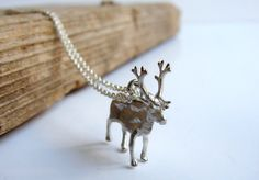 For the one that hears the prancing and pawing of each little hoof. Reindeer Necklace Pendant. $35.00.