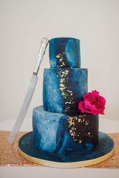 Blue Marble Cake Gold Leaf Celestial Sparkle Old Hollywood Glamour Wedding https://www.jonnybarratt.com/