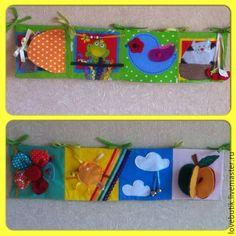 Купить Развивающая книжка-растяжка в кроватку малышу - разноцветный, книжка из фетра, развивающая книжка