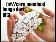DIY||Cara membuat bunga dari pita - YouTube Small Flowers, Diy Videos, Diy And Crafts, Make It Yourself, Creative, Youtube, Ribbon, Bikini, Tape