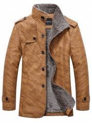 Stand Collar Single-Breasted Epaulet Embellished Jacket - KHAKI