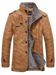 Stand Collar Single-Breasted Epaulet Embellished Jacket - KHAKI