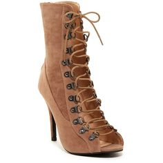 Chase & Chloe Alanis Lace-Up Bootie (458.350 IDR) ❤ liked on Polyvore featuring shoes, boots, ankle booties, ankle boots, taupe, lace up peep toe booties, lace up ankle boots, faux suede boots and taupe ankle boots