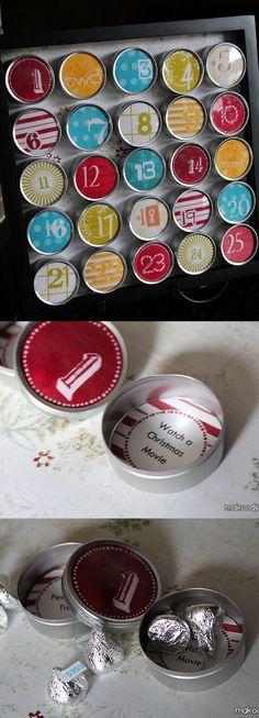 Free Christmas Advent Calendar Printable - can print scripture on the back of each lid!