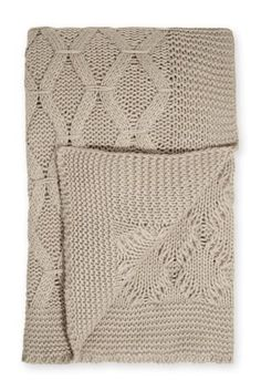Buy Cosy Cable Knit Light Natural Throw from the Next UK online shop