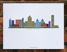 Buffalo skyline letterpress print by starshapedpress on Etsy, $20.00