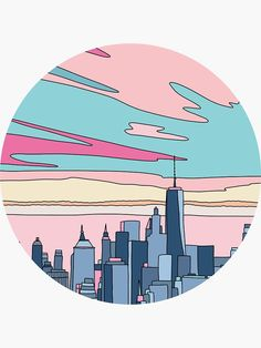 'City sunset by Elebea' Sticker by Sabrina Brugmann – vintage Vinyl Record Art, Vinyl Art, Aesthetic Painting, Aesthetic Art, Orange Aesthetic, Art Pop, City Drawing, Cd Art, Cute Wallpapers